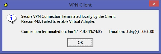 secure vpn connection terminated locally by the client reason 442